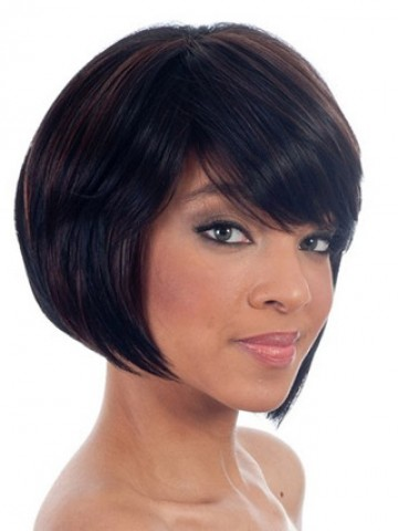 Short Bob Wig With A Perfect Fringe Lace Human Hair Wig P4