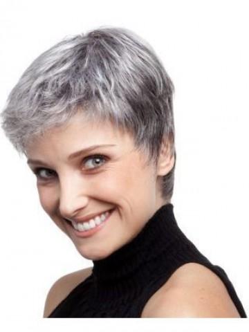 layered boy cut capless grey wig  p4