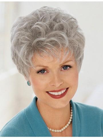 Ladies Short Curly Grey Wig | P4