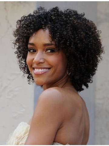0b8a0b40e2afab Cute Short Kinky Curly Lace Front Synthetic Wig 14 Inches, African ...