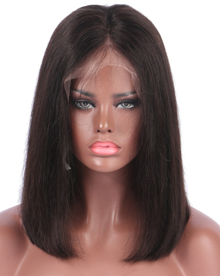 150 Density Short Bob Lace Front Wigs Deep Parting Straight