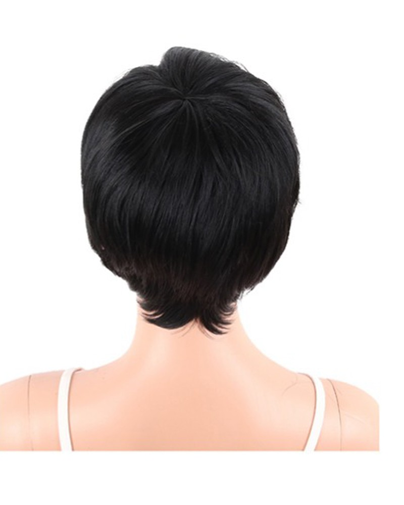 Short Straight Synthetic Wigs Pixie Cut Natural Hair Wig With Bangs For Black Women