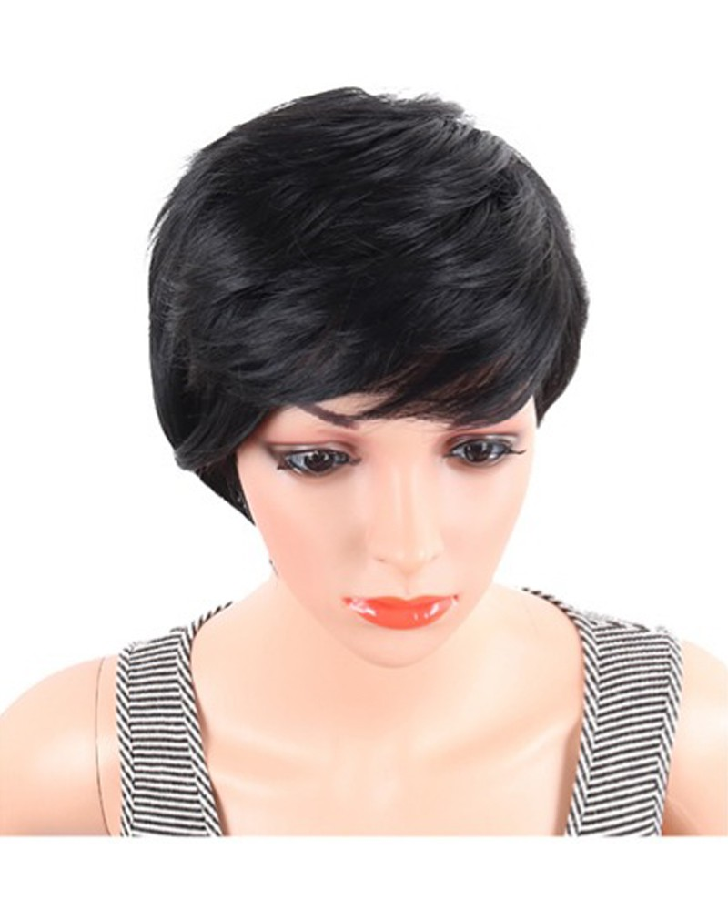 Short Straight Synthetic Wigs Pixie Cut Natural Hair Wig With Bangs ... 144c65926e