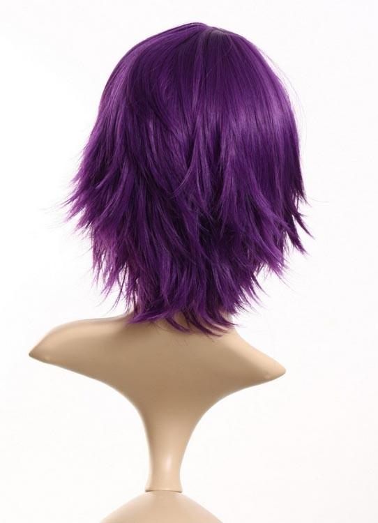Quine Short Purple Wig Cosplay Black Wigs Cheap P4