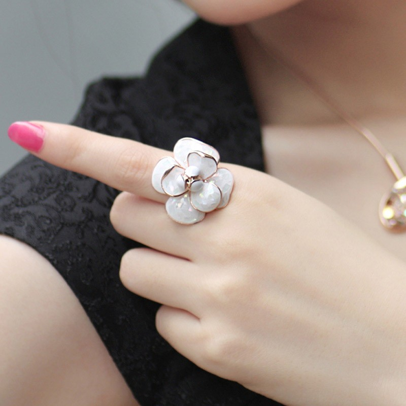 Colorful Flower Rose Gold Plated Pearl Index Finger Ring