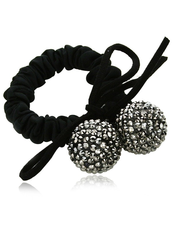 Lovely Rhinestone Ball Cherry Shape Rubber Band Scrunchies