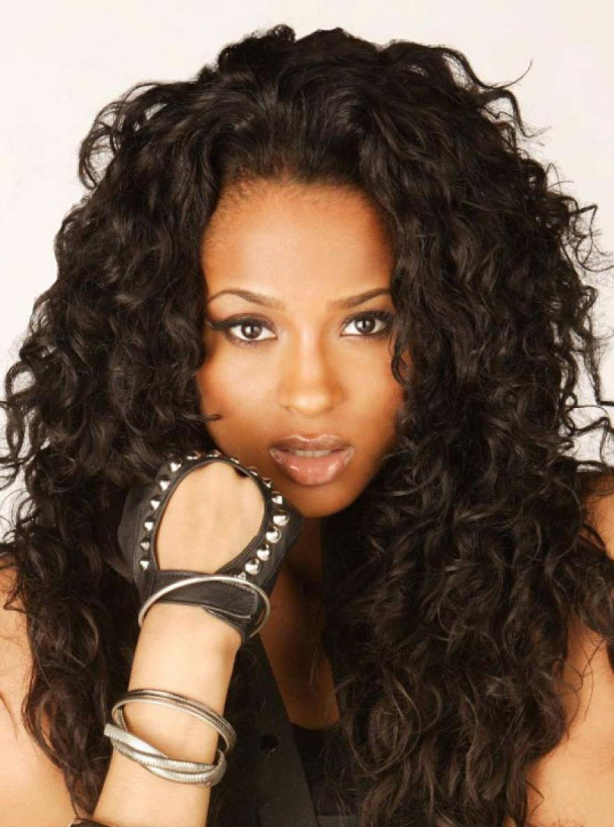 Black Girls With Long Curly Tracks 2015 Prom Wig Human