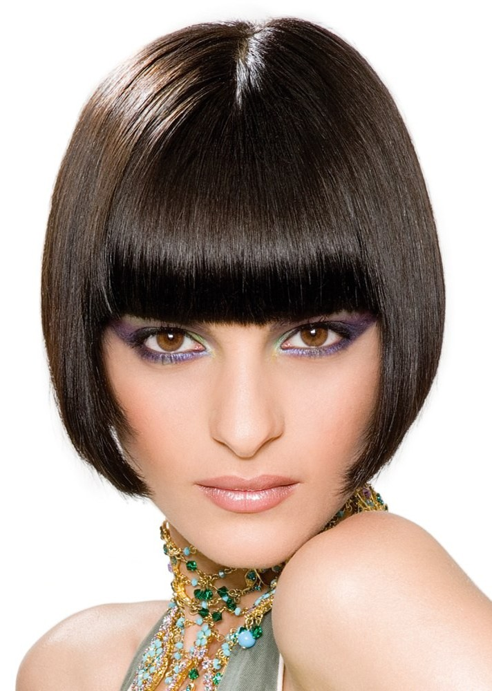 2015 Shorts Sleek A Line Bob With Bangs Bangs Wig Cheap