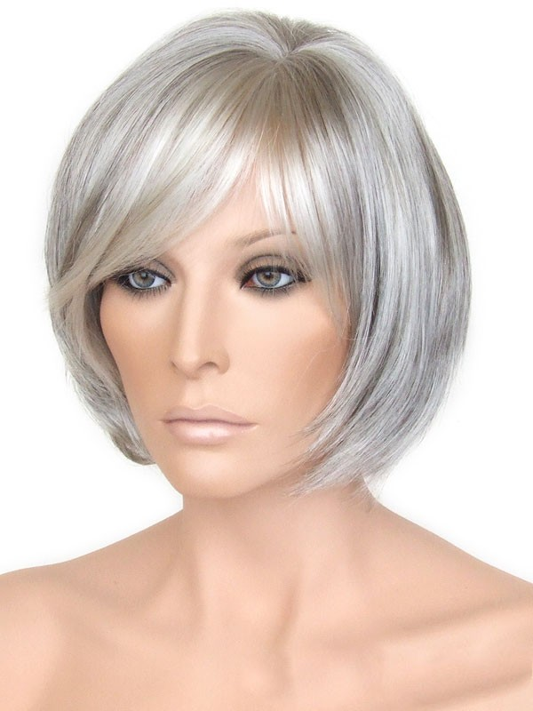 Capless Grey Short Straight Synthetic Hair Wig, Grey Wigs Sale - P4
