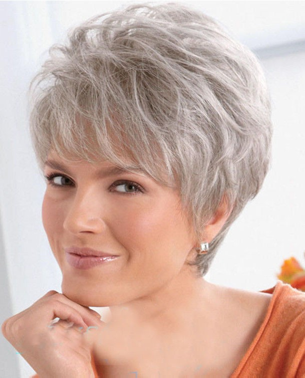 Women Lady Wig Short Straight Silver Grey Synthetic Hair Wigs 33c207230e9d