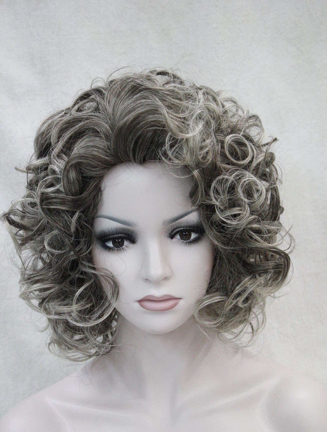 Dark Brown   Light Grey Mixed Ladies Daily Hair Fluffy Wig 3dc975521a2e