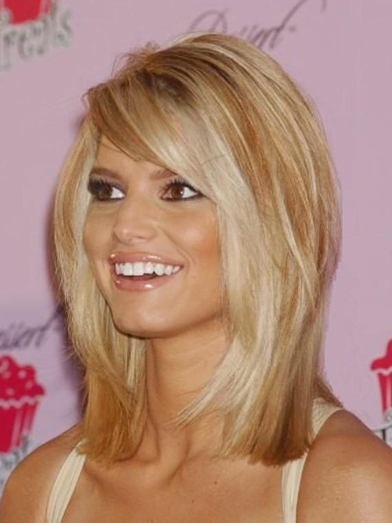 Jessica Simpson Medium Length Full Lace Straight Human Wigs Jessica