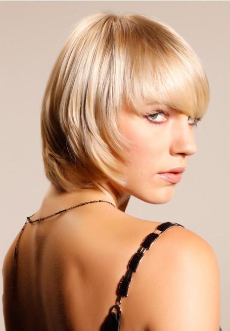 Short Blonde Textured Bob With Long Fringe Wig Synthetic