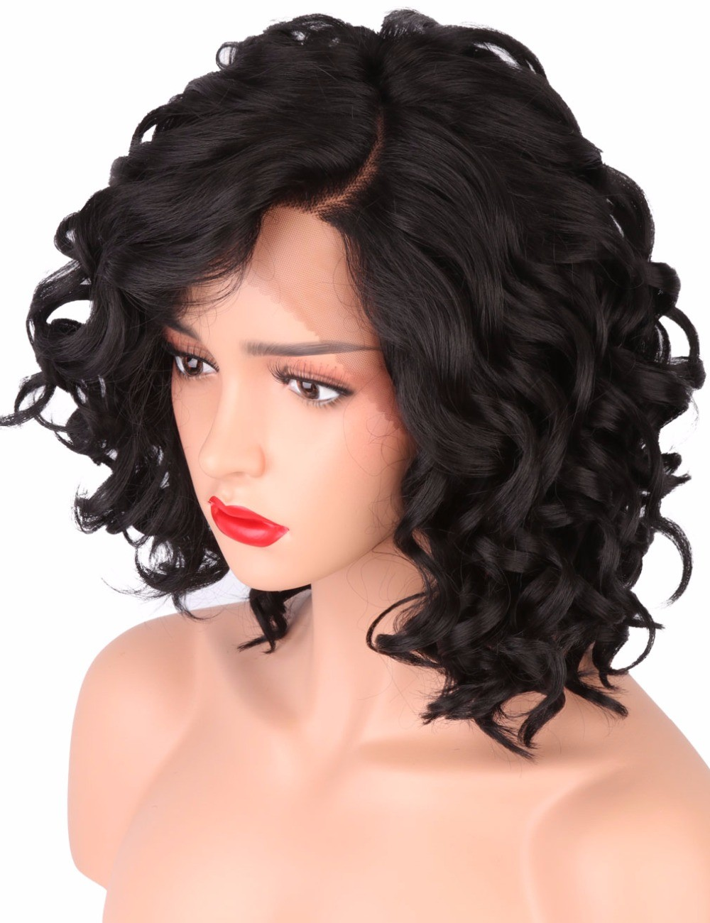 short bob wigs for black women body wave synthetic lace