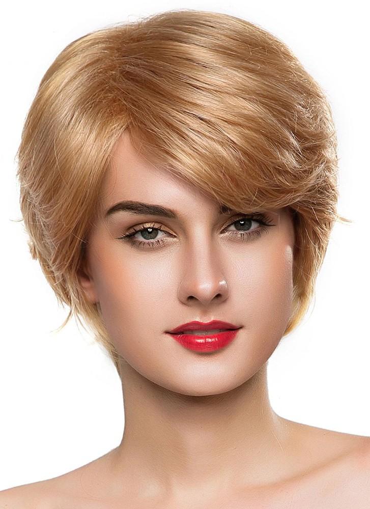 Capless Short Blonde Wavy Remy Human Hair Wig Human Hair