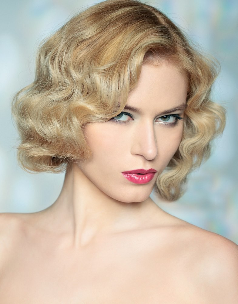 Bob Wig With Vintage Waves Human Hair Wigs With Bangs P4