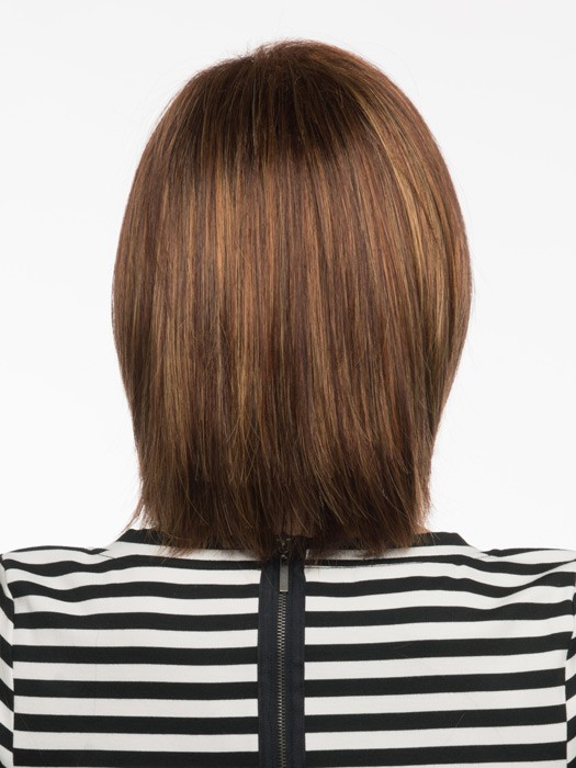 Medium Straight Brown Bob Wig With Bangs Lace Front