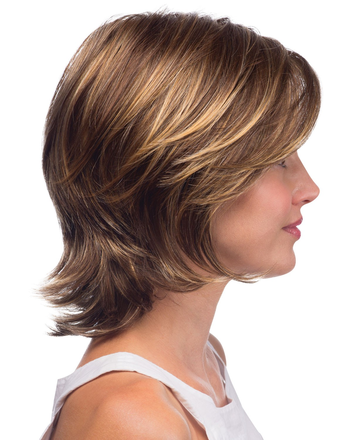 Medium Length Layered Shag Style Wig With Side Swept