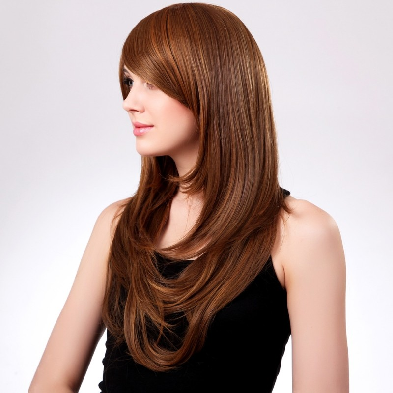 women synthetic fiber side bangs long curly hair wig light brown