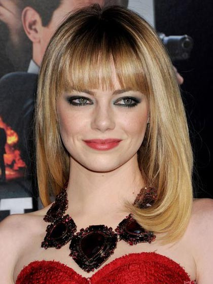 emma stone light blonde with full bangs equal front lace wigs p4