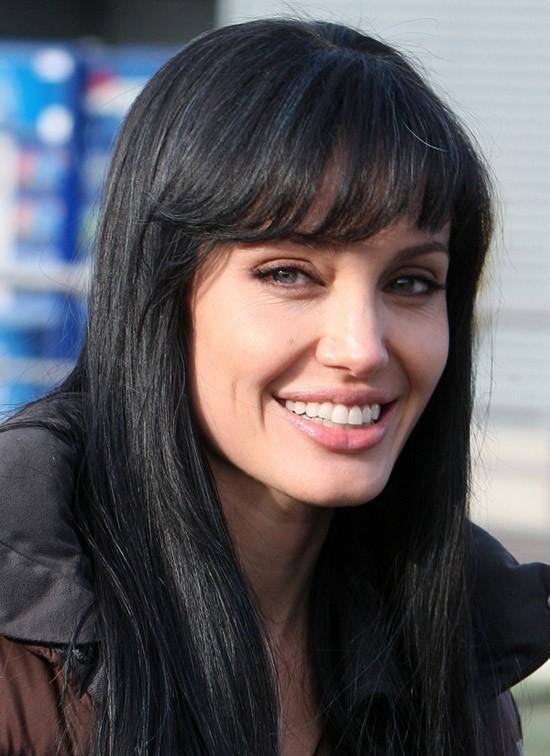 Angelina Jolie Long Black Hair Wig With Bangs