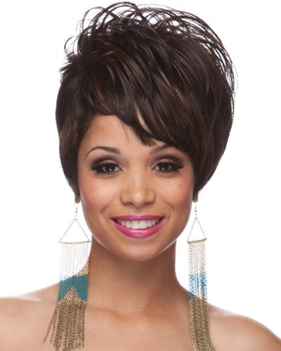 unique prom hairstyles : Ultra Short Capless Synthetic Hair Wigs, short purple wig