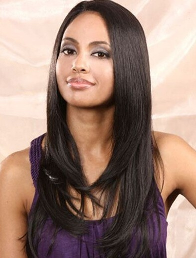 Straightened Long Layered Black Hair 103