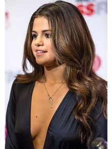 Selena Gomez Wavy Lace Front Remy Human Hair Wig