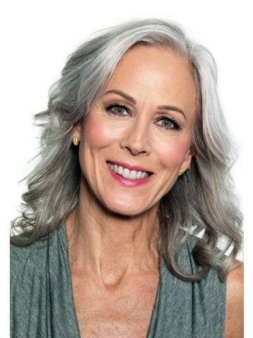 Full Lace Long Gray Wavy Synthetic Hair Wig Gray Hair Wigs
