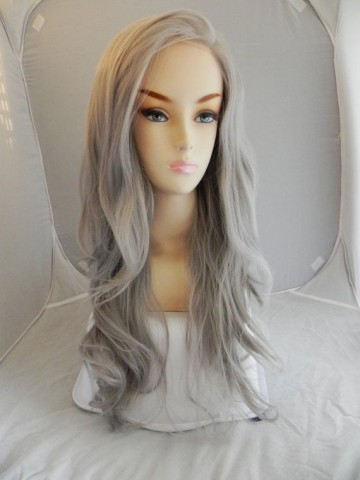 Lace Front Long Wavy Gray Synthetic Hair Wig Gray Hair Wigs