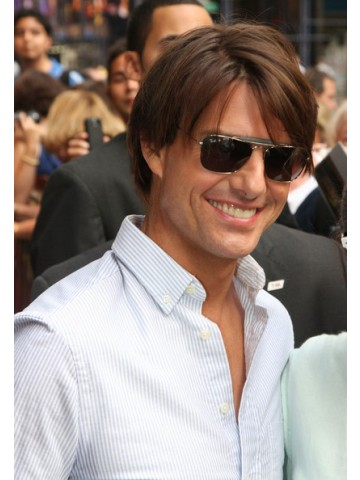 Tom Cruise Capless Short Remy Human Hair Straight Wig