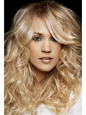 Blonde Long Hairstyles With Layers And Side Bangs Wig